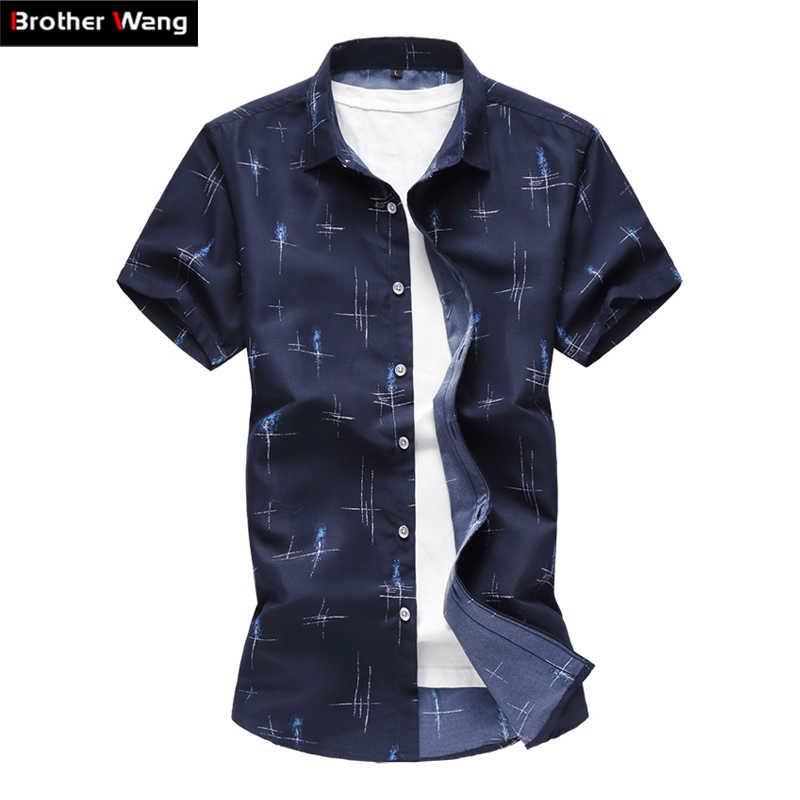 bf12c1c680b4687 2019 летняя новая мужская Повседневная рубашка с модным принтом тонкая  рубашка с коротким рукавом Гавайская рубашка