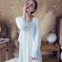 Victorian Draped Nightgown Vintage Lace Sleepwear Women Night Wear Sleep Shirt Home Dress White Princess Nightdress For Wedding