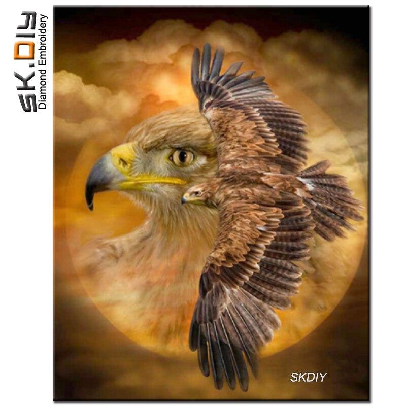 SK DIY Орел летать животных 5D узор со стразами Алмазная Вышивка Алмаз Картина мозаика продажи mazayka Декор для дома серии на стене