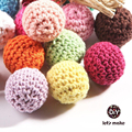 Let's Make 50pc/lot Crochet Round Wooden Beads Crochet Color Mix Ball 16-20mm Decoration Inside Wooden Teething Crochet Beads
