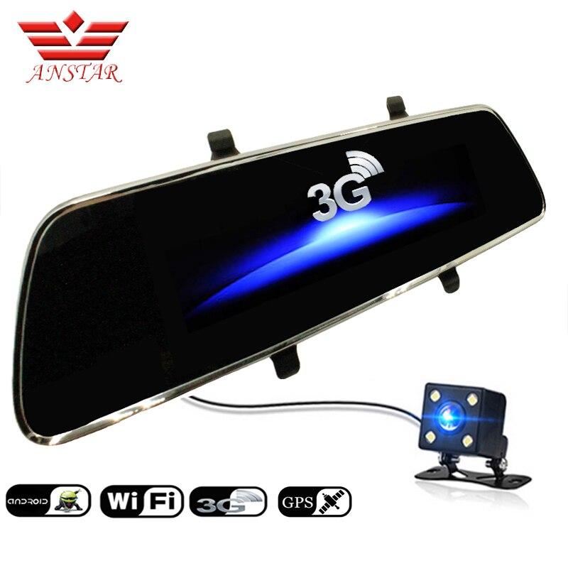 imágenes para ANSTAR Cámara Bluetooth GPS de Doble Lente de Espejo Retrovisor de Vídeo DVR Del Coche grabadora Dashcam FHD 1080 P 7 pulgadas 3G Espejo DVR Coche Dash cam
