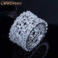 CWWZircons marque concepteur géométrique fleur luxe bagues pour les femmes Unique bijoux de fête cubique zircon Cocktail anneaux R066