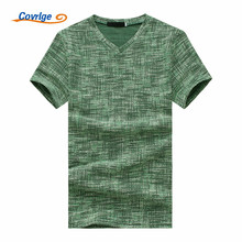 Covrlge Men T-shirts High Quality Classical Short Sleeve V-neck Solid Color Loose Basic Casual Fitness Hip Hop Tshirt MTS464
