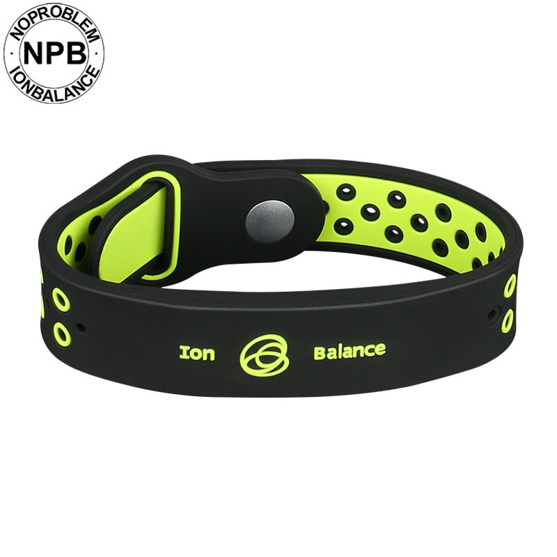 Noproblem antifatigue power fitness sports silicone ions balance tourmaline germanium charms bracelet wristband bangles