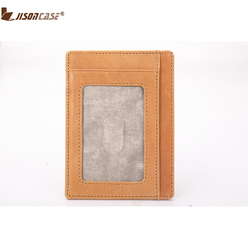 Jisoncase ID Card Holder Minimalist Bank Crekit Cards Wallets For Man Woman Unisex Simple Genuine Leather Money ID Window Wallet