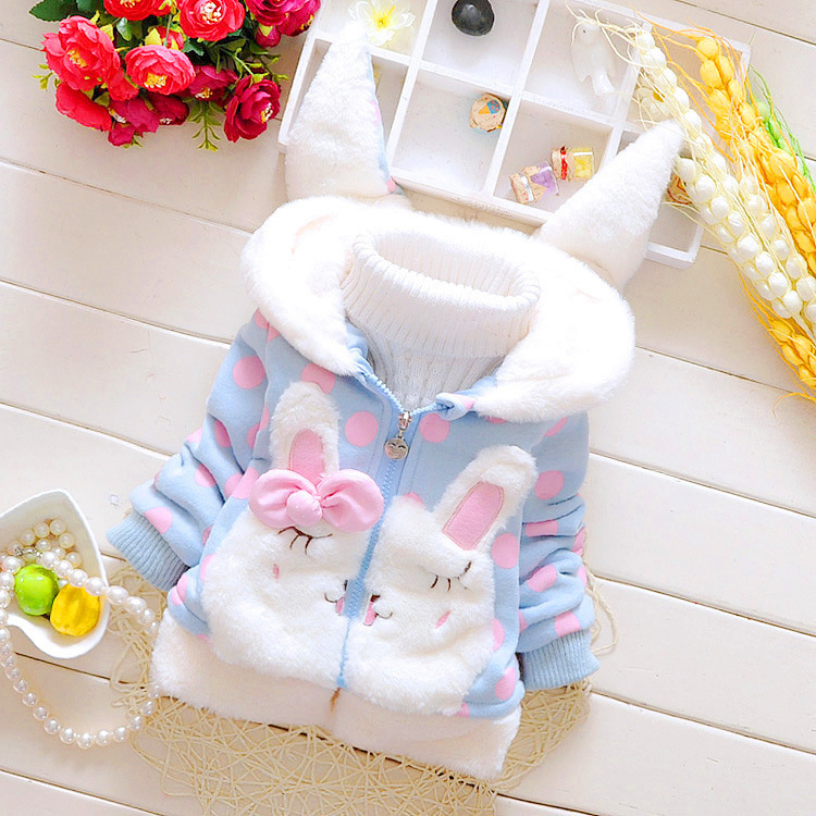 new baby girl winter coat Children Outerwear, baby girls Rabbit ears Winter Coat  jackets, girl's clothing Plus velvet warm