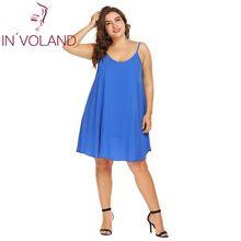 IN VOLAND Plus Size XL-5XL Women Dress Sexy Spaghetti Strap Solid Summer  Casual Loose Fit Swing Tank Dresses Vestidos Oversized 7ca1f764b41b