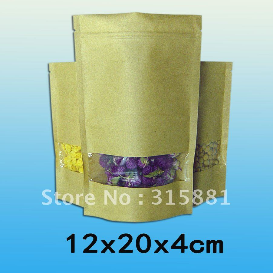 Event & Party Home & Garden Standup Kraft Paper Bag With Window And Zipper For Food 12x20x4cm 100pcs/lcot Special Buy