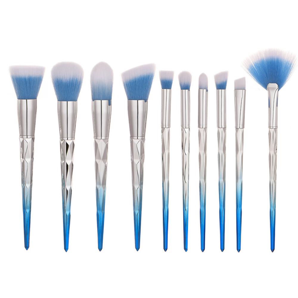 10pcs Make up Brush Set Foundation Blending Powder Eyeshadow Contour Concealer Blush Diamond Cosmetic Beauty Tools Kits (YP0241)