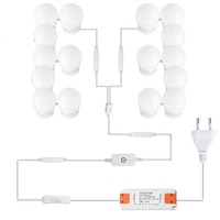 LED Vanity Hollywood Styles Makeup Mirror Lights kit bulbs for wall Dressing Table with Dimmer & Adapter Plug in 16PCS Bulb