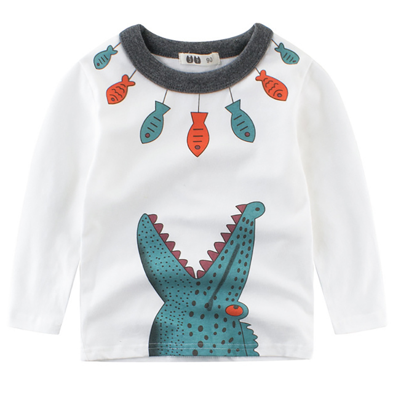 Boys T Shirts Spring 2018 Girl Long Sleeve T Shirt Cartoon Little Girls Tops Summer O-neck Cotton Toddler Tshirts Boy T Shirt stylish scoop neck long sleeve chevron stripe slimming women s t shirt