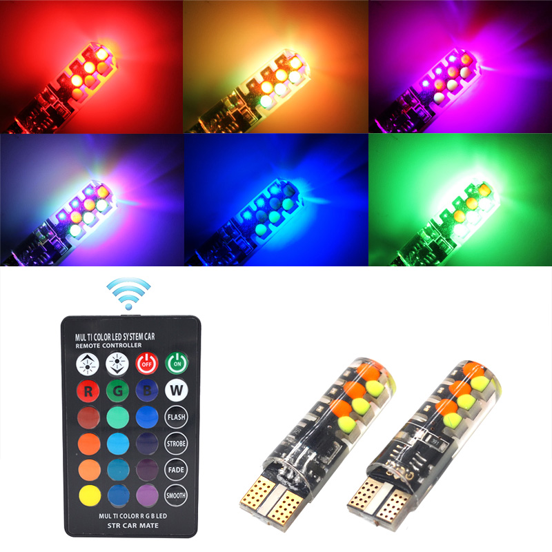 New Universal Car LED T10 W5W RGB COB 12SMD Colorful Multi Mode With Remote Control Flash/Strobe Car LED T10 Clearance lights
