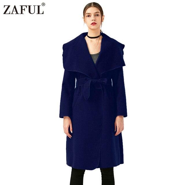 ZAFUL новый осень 2017 г. женские пальто с поясом v-образным вырезом с длинным рукавом ветровка Женская кашемировое пальто куртка Женский Пальто