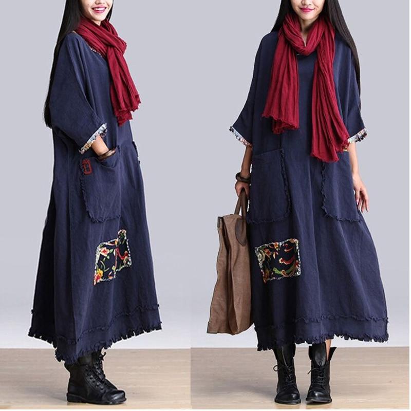 59fce61bfb BUYKUD 2018 Autumn Dress Woman Literature Cotton Linen Tassels Long Dress  Vintage Loose Plus Size Women Dresses
