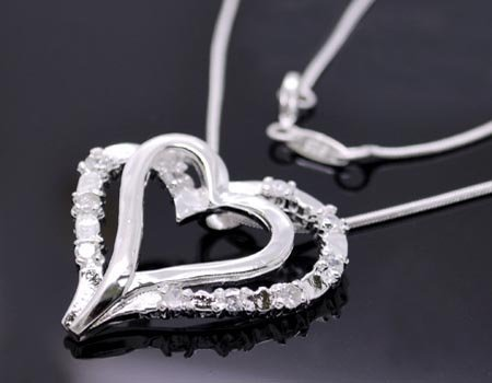 Free ship fee 925 sterling silver Heart Zircon pendant Necklace N002