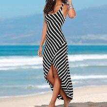 Woman Dresses Party Night Casual Sundress Sleeveless Stripes Loose Long Beach Dress summer dress 2019