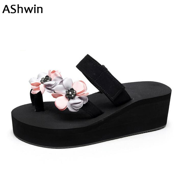 AShwin flip flops wedge platform thong slipper casual summer sandals beach  slipper hawaiian holidays shoes mules clogs outdoor 1d939380f2fb