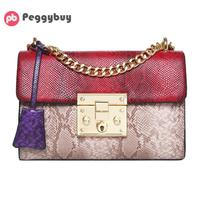 Patchwork Women Small Chain Shoulder Bags Fashion PU Leather Crossbody Bag Female Snake Skin Evening Party