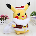 30cm pikachu Go Pikachu Plush Doll Toy Cosplay Santa Claus Stuffed Soft Dolls Christmas Gift For Children Retail