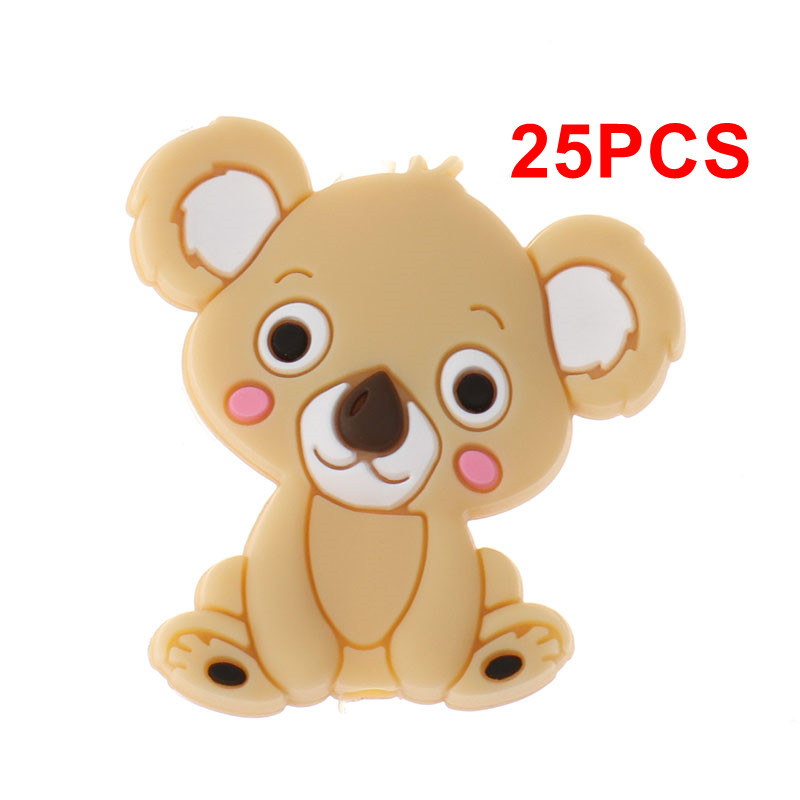 Mini Koala Bead 25pc Silicone Cute Bear Baby Teether Beads Bpa Free Babies Pacifier Comfort Chain DIY Christmas Decorations Gift