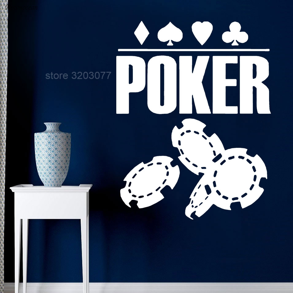 Poker Wall Decal Play Cards Chips Casino Motivational Poster Wall Sticker Wall Art Decor Self Adhesive Mural P309