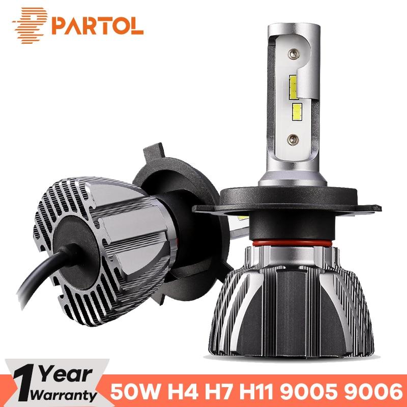 Partol Auto H4 LED Scheinwerfer Lampen 50 watt 8000LM H7 LED 9005 9006 H3 Auto LED H1 Scheinwerfer CSP H11 led-lampen 6500 karat 12 v 24 v Auto Lichter