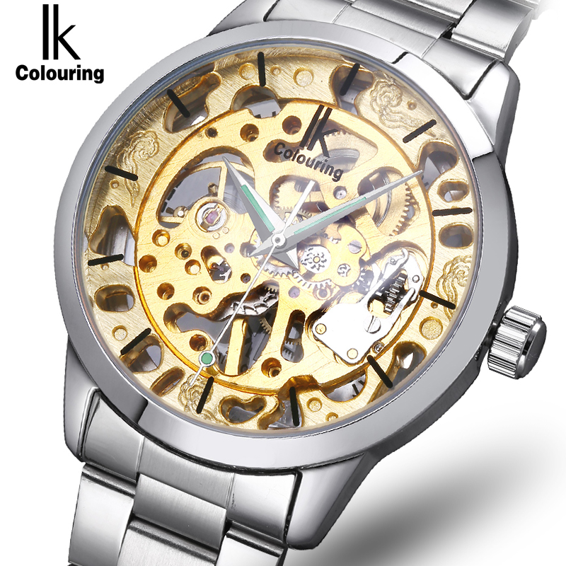 IK Brand 2017 New Full Steel Hollow Gold Dial Mechanical Hand Wind Men Watch Casual Wear Fresh Summer Men Watch orologi maschili ik colouring brand mechanical hand wind clock nail scale hollow back cover luminous hardlex full steel business men s watch