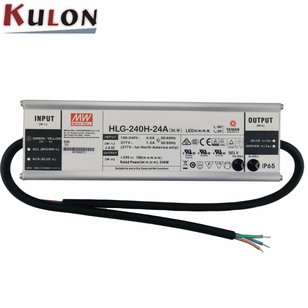 Genuine Meanwell HLG 240H 24A 24V adjustable Power Supply 240W 10A IP65 waterproof led driver HLG
