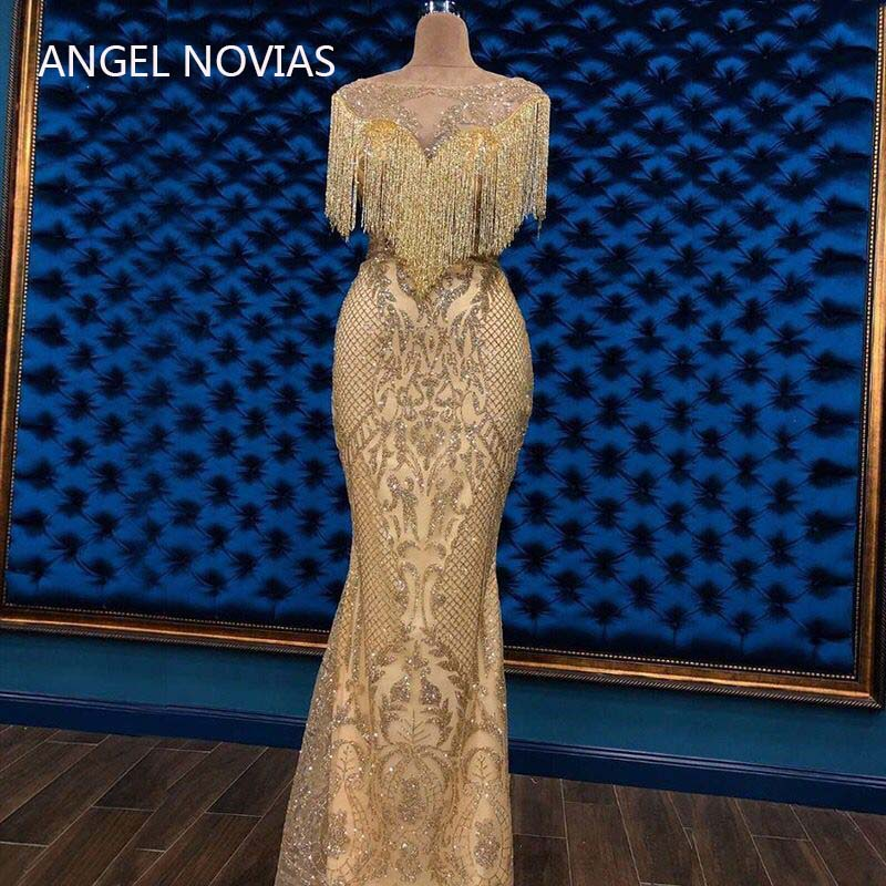 Angel Novias Long Mermaid Gold Embroidery Lace Arabic Abendkleider Evening Dress 2019 With Crystals Tassels Vestidos De Noche