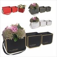 3PCS Set 2018 New Small Size Florist Packing Flower Bucket Box Portable Flower Gift Box 4