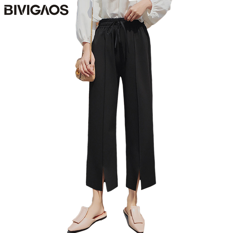 BIVIGAOS Summer New Womens Front Big Split   Wide     Leg     Pants   Line Pressing Ninth   Pants   Casual Loose High Waist   Pants   Women Trousers