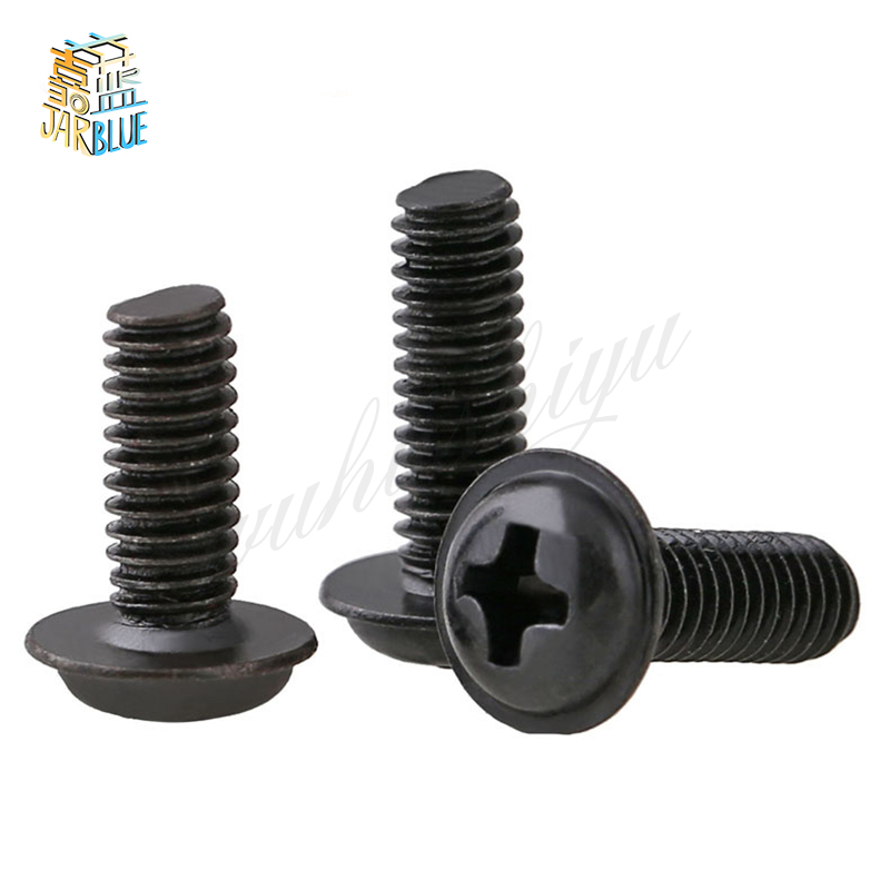 50Pcs M2 M2.5 M3 PWM DIN967 Black Pan Padded Screws Referral Computer Case Chassis Fixed Motherboard Screws With Pad SS09 niko 50pcs chrome single coil pickup screws