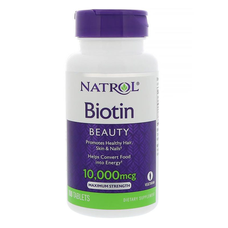 Natrol Biotin 10,000 Mcg Beauty Promotes Healthy Hair Skin & Nails 100 Pcs