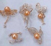 MADALENA SARARA AA 8 9mm Saltwater Pearl Gold Tone Pearl Brooch For Gift