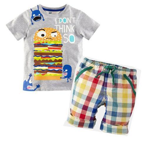 Hamburg Baby Boy Kid Summer Short Sleeve T-shirt Tops Plaid Pants Outfit Kids Clothes Boys