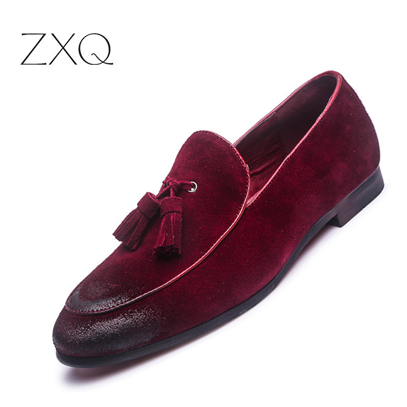 New Fashion   Suede     Leather   Loafers Men's Flats Tassel Retro Slip-On Breathable Shoes Comfortable Loafers Shoes Men