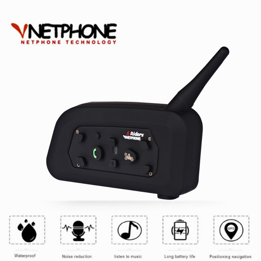 VnetPhone V6 Bluetooth Intercom Moto Motorcycle Helmet Accessories Speaker 1200m 6 Riders Interphone Headset Support Wireless lexin 2pcs r6 1200m bt motorcycle wireless intercom helmet headsets for 6 riders intercomunicador bluetooth para motocicleta