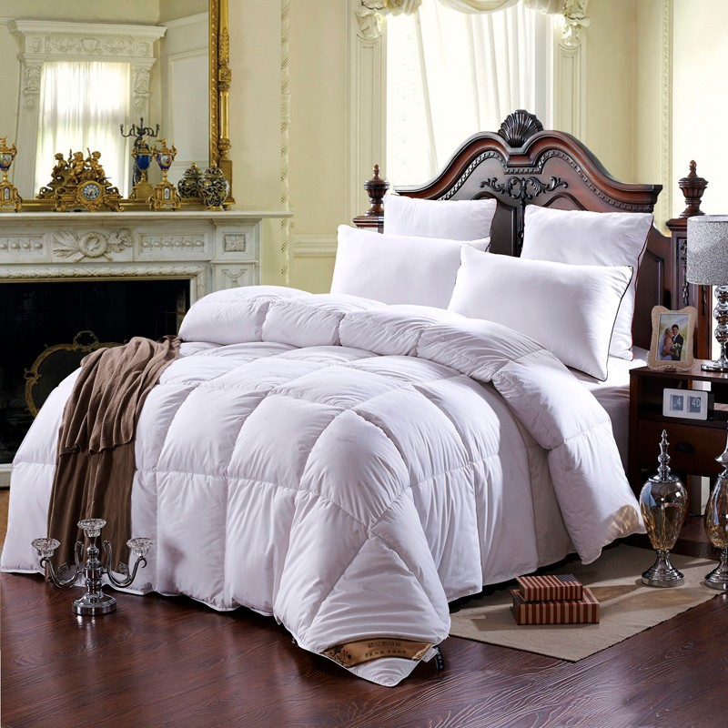 100 cotton cover and pure duck down filling thick comforter bedding set king queen twin size. Black Bedroom Furniture Sets. Home Design Ideas
