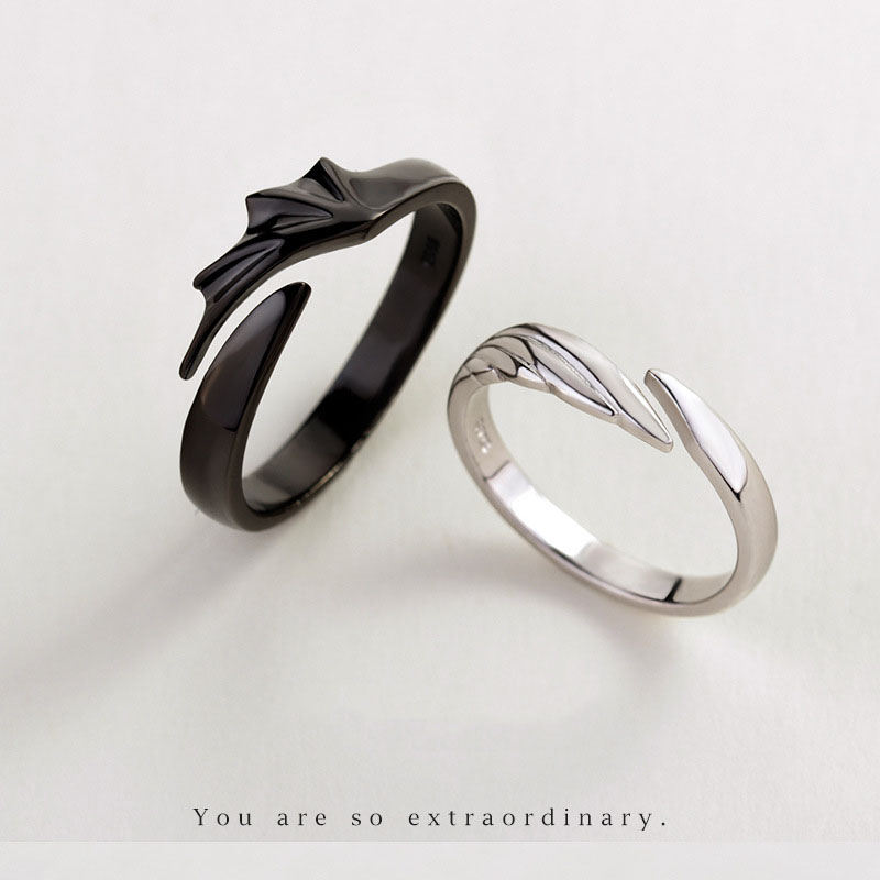 Silvology 925 Sterling Silver Angel And Devil Couple Rings Original Creative Texture Romantic Rings For Lovers Silvology 925 Sterling Silver Angel And Devil Couple Rings Original Creative Texture Romantic Rings For Lovers Festival Jewelry