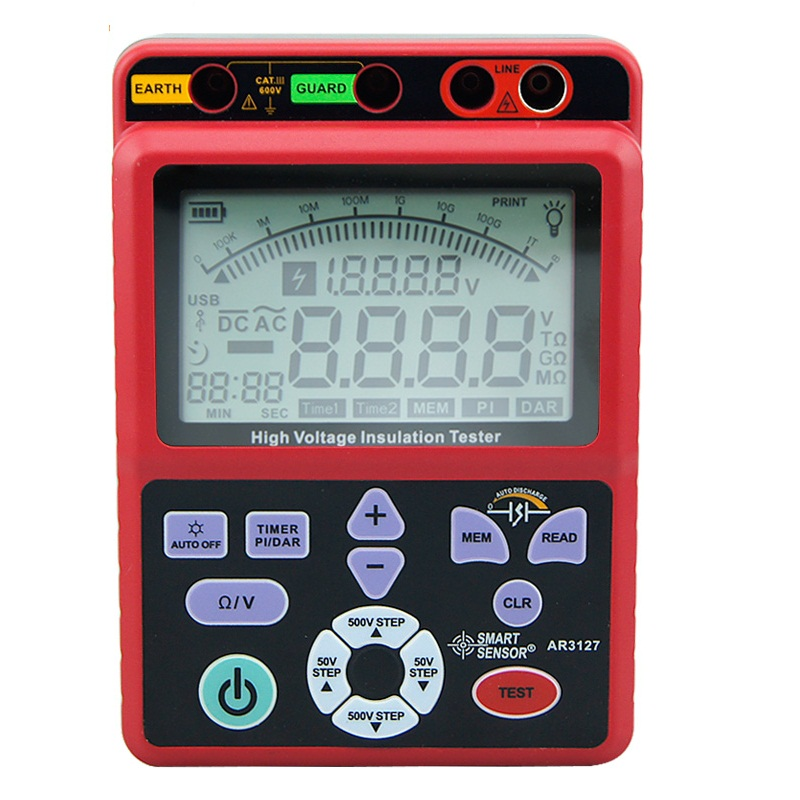 AR3127 digital high voltage insulation resistance tester 5000V megger shake table electronic table 0.0-1000G ohm resistor mastech ms5215 high voltage digital insulation resistance tester megometro megger 5000v 3ma temp 10 70c