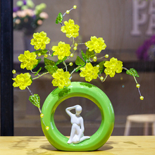 Top quality Crystal flower vase Crafts Creative ceramic  Figurines Miniatures Home Decoration romantic wedding gifts