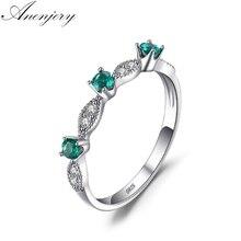 Anenjery Vintage Fashion Setting Green Zircon Bijou Micro CZ Silver Color Ring For Women Size 6-10 anillos anel S-R321