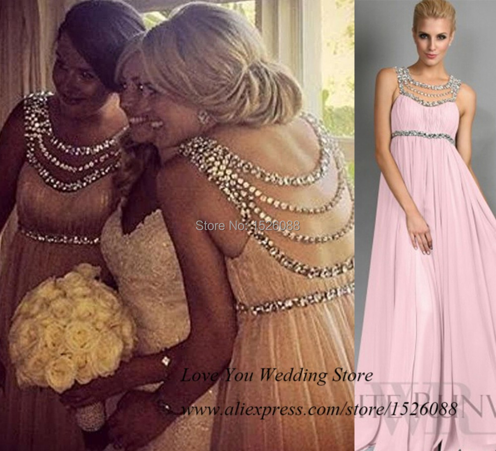 5bbe25e06306f 2015 Real Designer Coral Bridesmaid Dresses Crystal Pink Long Prom Dress  Backless Empire for Pregnant Women
