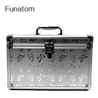 Fashion Aluminum Storage Box Beauty Case For Cosmetics, Large capacity Cosmetic Bag For Make Up,Girl's Gift Jewelry Storage Box