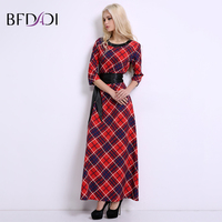 BFDADI Brand women plaid printing long dress Russian style women Casual loose With belt Maxi dress vestidos summer dress BF032
