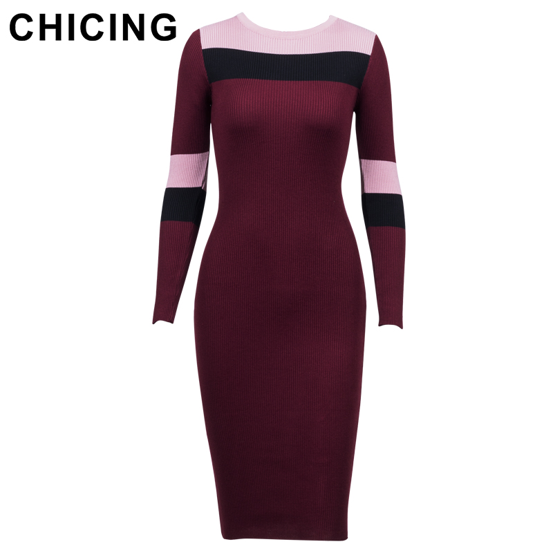 CHICING Femmes Sexy Hit Couleur Tricoté Rayé Midi Robe Série 2018 High Street O-cou À Manches Longues Moulante Sexy Robe A1708052