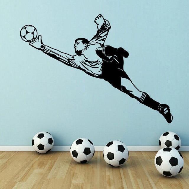 Adhesivos de fútbol para pared portero vinilo aplique de pared niño y niño habitación actividad pegatina de pared decorativa pintura 3YD1