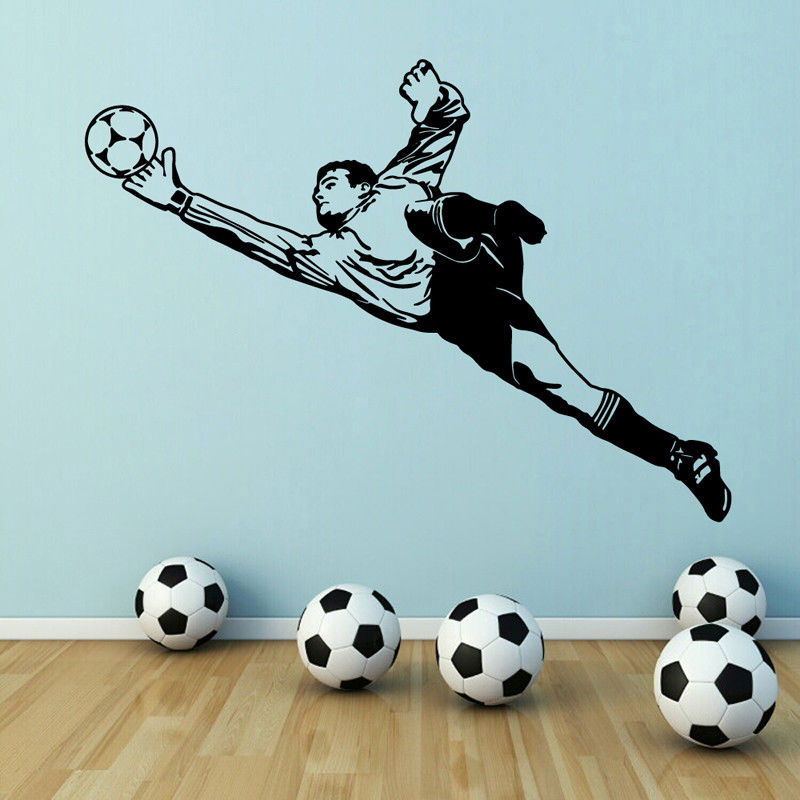 Football wall sticker goalkeeper vinyl wall applique child and boy bedroom activity room wall sticker decorative painting 3YD1-in Wall Stickers from Home & Garden