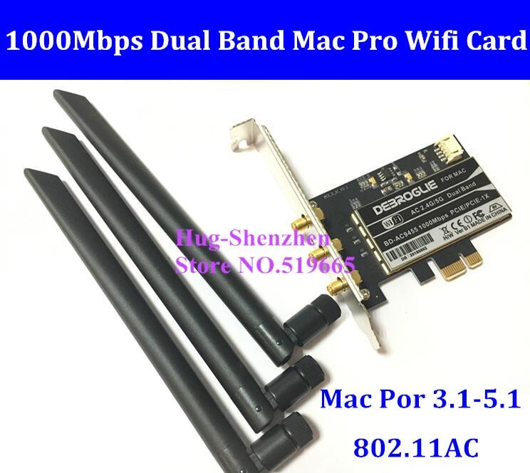 DEBROGLIE 1000Mbps Dual Band 802.11ac Desktop PCI-E WiFi Adapter PCi Express Wireless Card + Antenna for All Mac Pro OSX 10.10