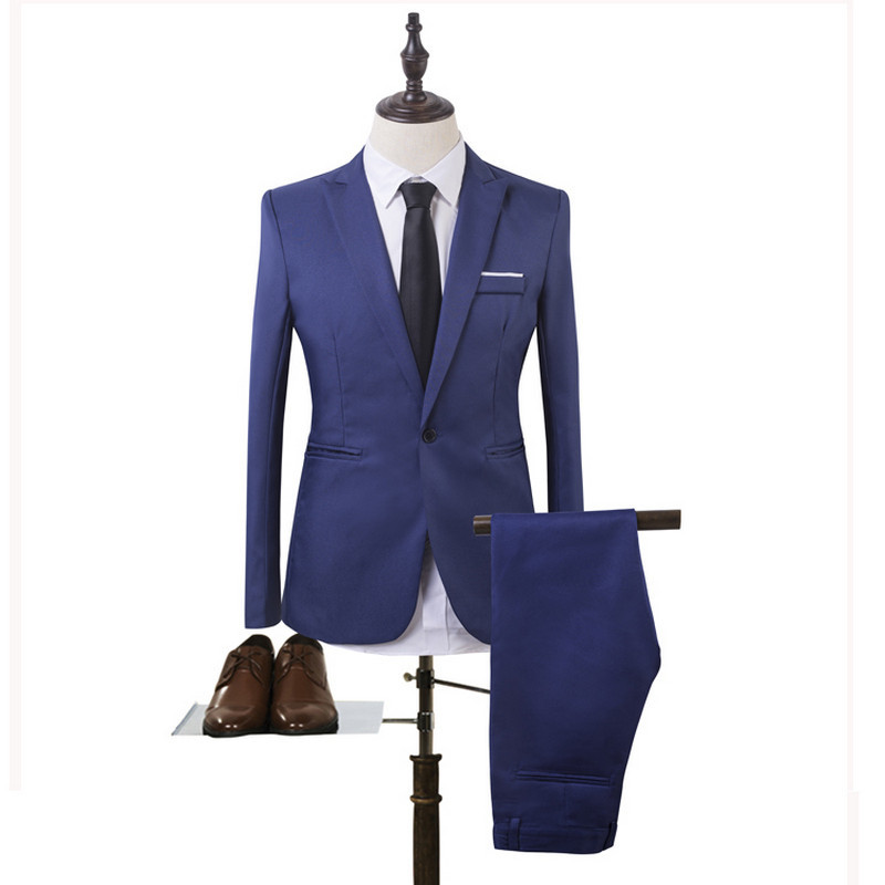 New Plus Size 3xl Mens Suits Wedding Groom Good Quality Casual Men Dress Suits 2 Peiece (jacket+pant)